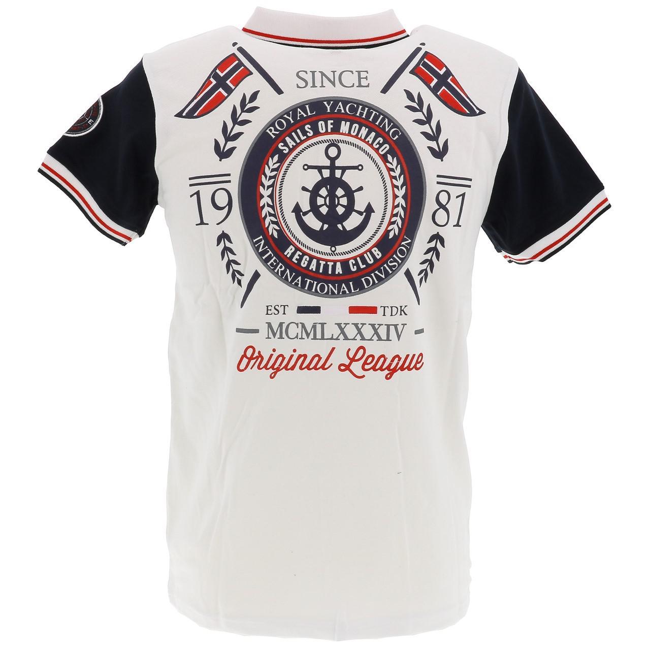 Short-Sleeve-Polo-Sails-of-monaco-Pago-White-Mc-Polo-White-27185-New thumbnail 5