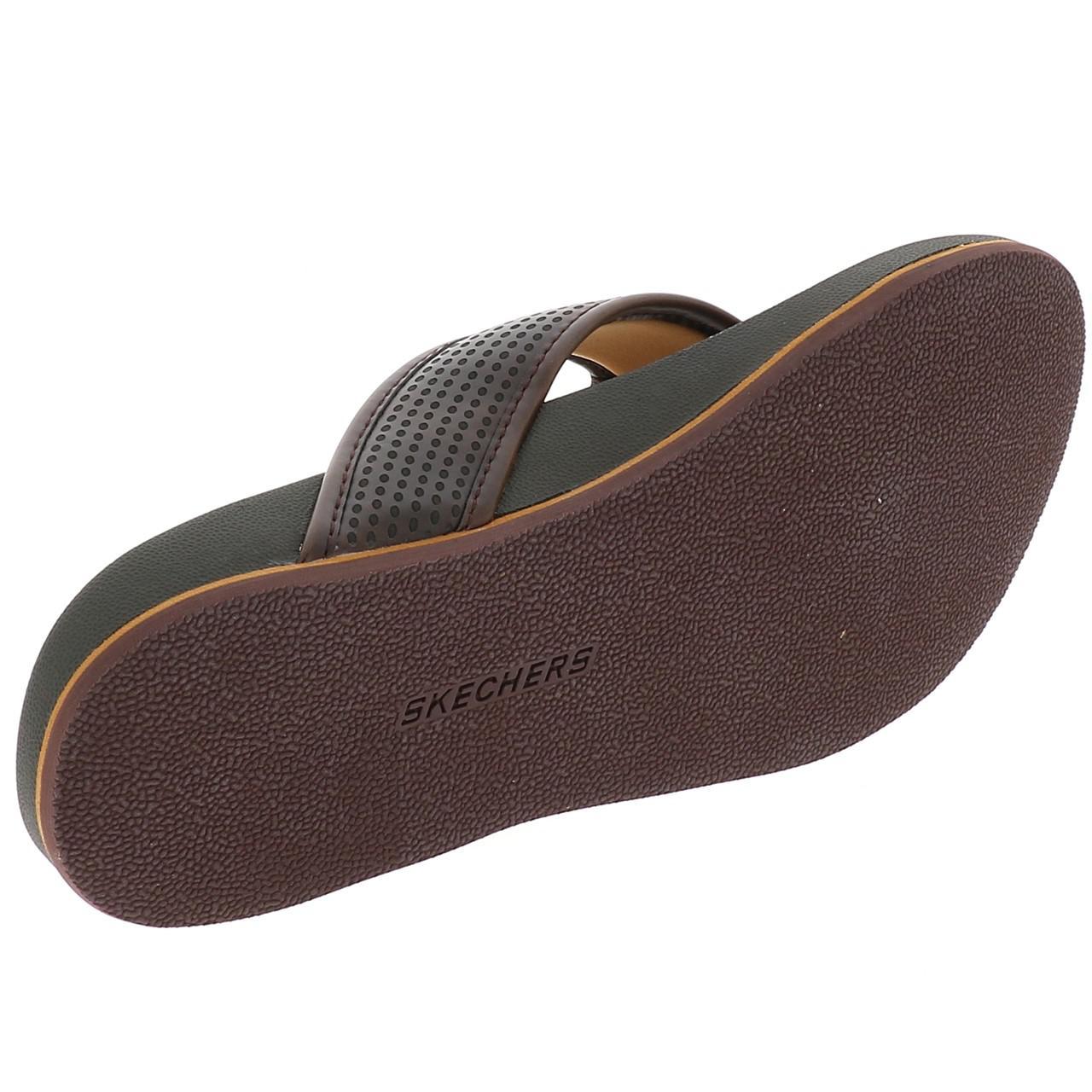 Tongs-claquettes-Skechers-Pelem-emiro-memoire-de-forme-Marron-40663-Neuf miniature 5