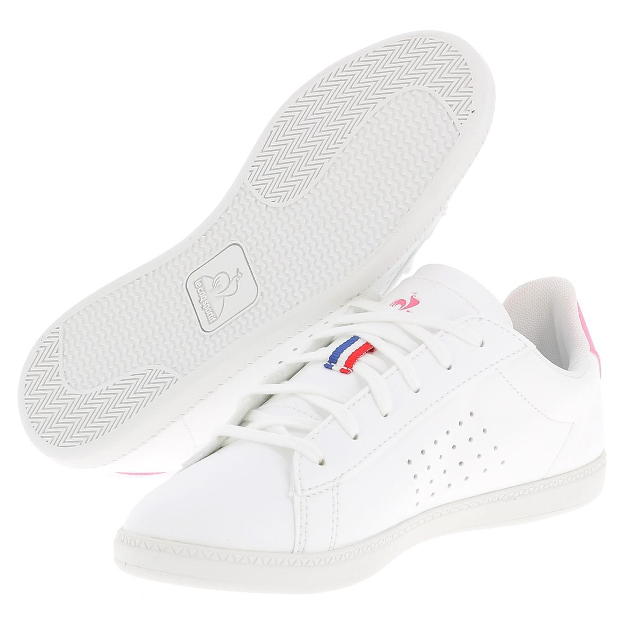 Schuhe-Niedrig-Leder-oder-Faux-Le-Coq-Sportif-Courtset-Maedchen-Blc-Weiss-47681 Indexbild 5