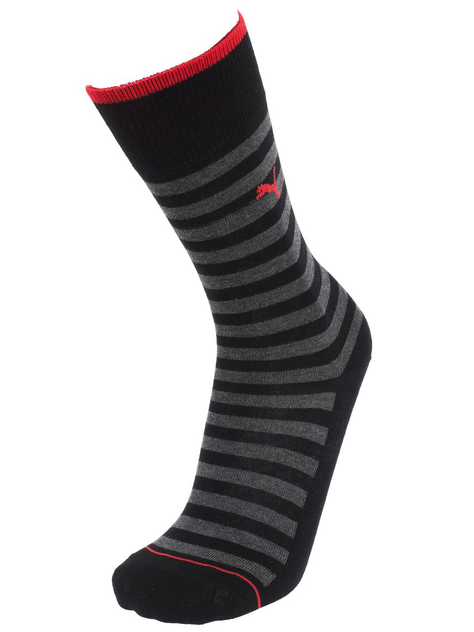 Chaussettes-Puma-Classic-black-stripes-x2-Noir-57037-Neuf miniature 5