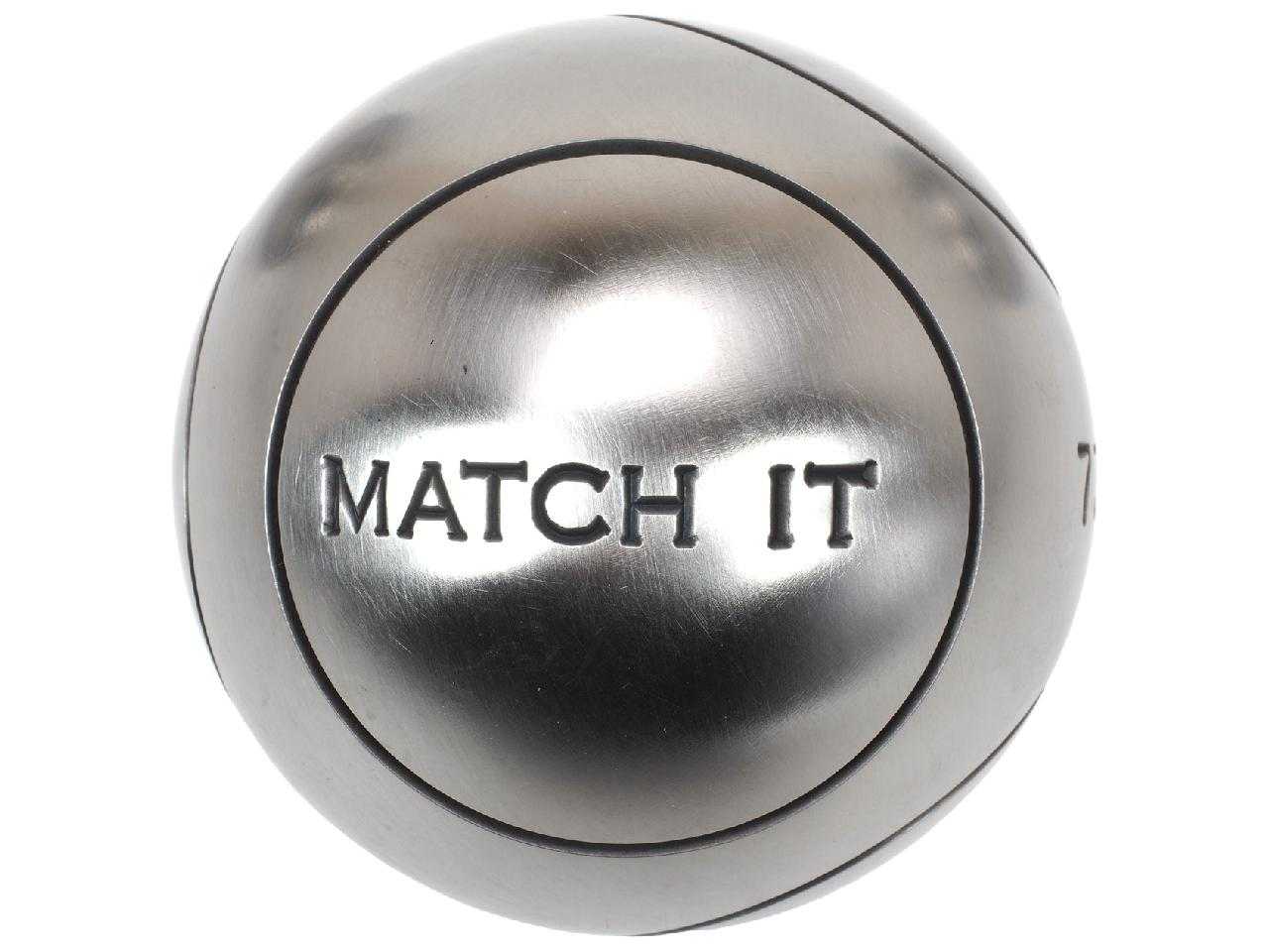 Boules-de-petanque-Obut-Match-it-inox-73mm-strie1-Gris-57625-Neuf miniature 5
