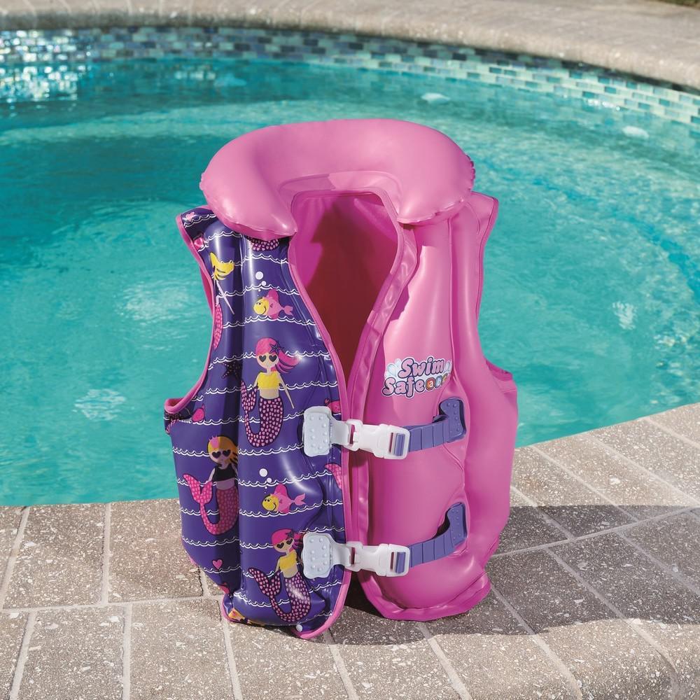 Gilet-flottant-natation-Bestway-Girl-inflatable-3-6-ans-Rose-70799-Neuf miniature 5