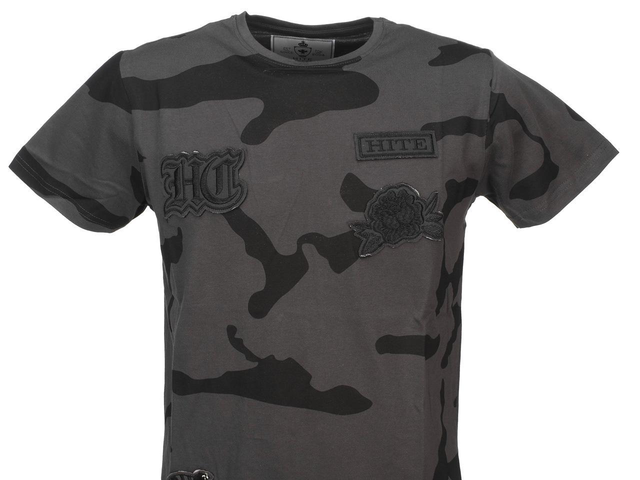 Short-Sleeve-T-Shirt-Hite-Couture-bet-Camo-Anth-Mc-Tee-Grey-11535-New thumbnail 2
