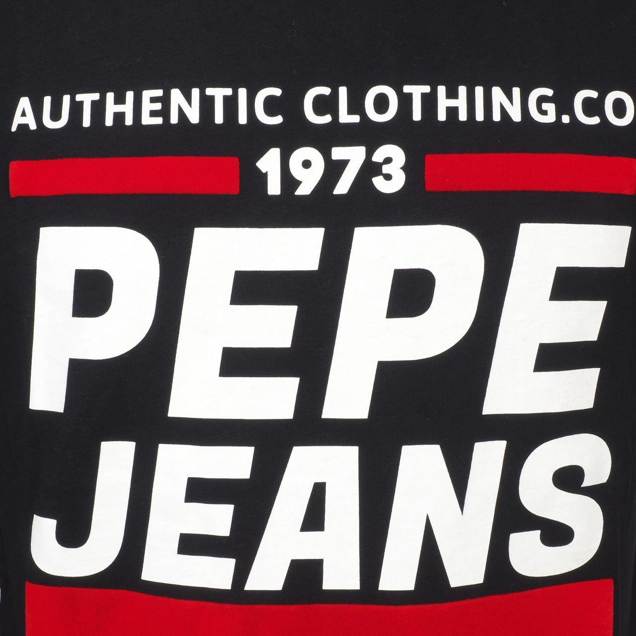 Tee-shirt-manches-longues-Pepe-jeans-Blake-black-ml-tee-jr-Noir-14082-Neuf miniature 2