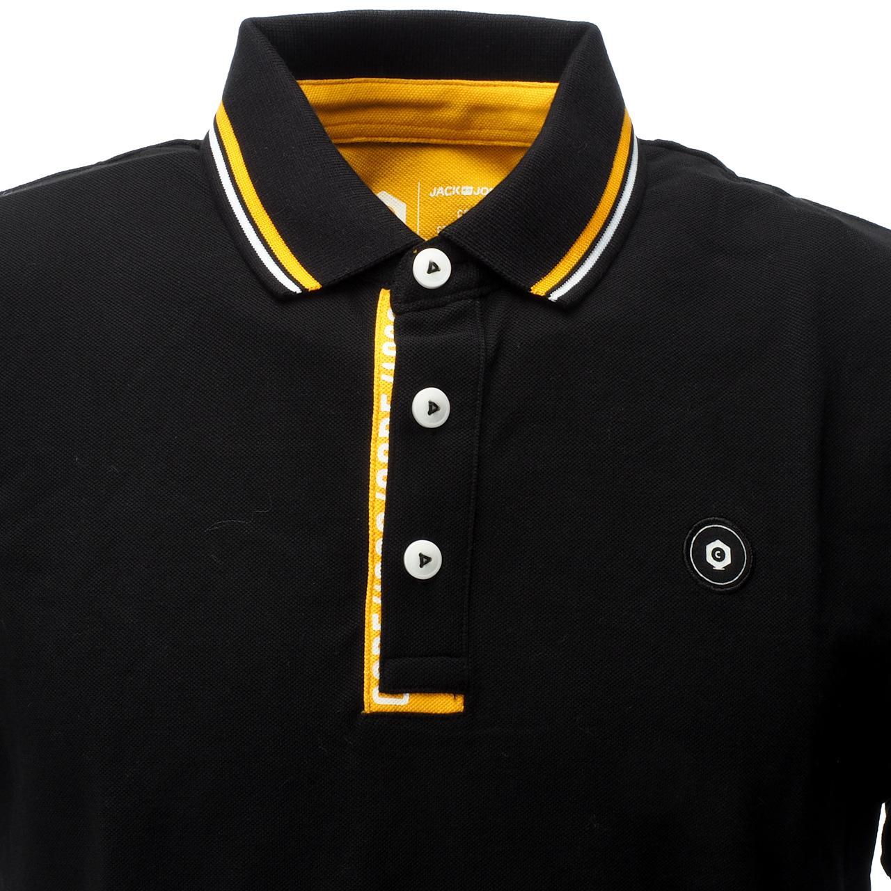 Short-Sleeve-Polo-Jack-and-Jones-Challenge-Black-Mc-Polo-Black-17260-New thumbnail 2