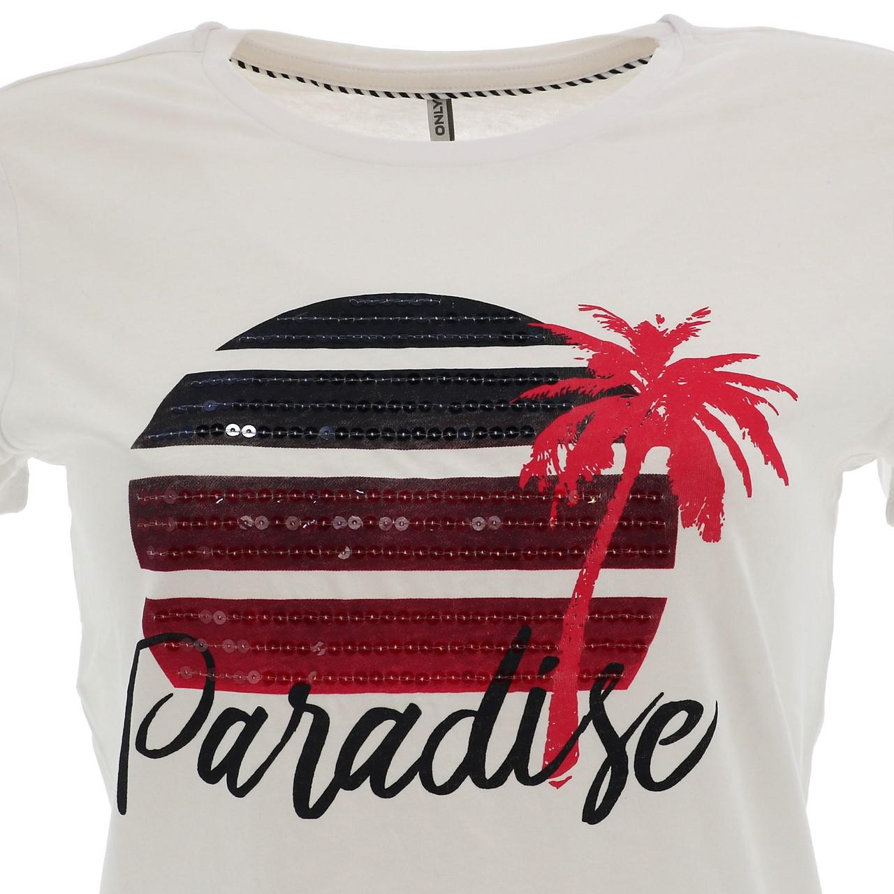 Tee-shirt-manches-courtes-Only-Paradise-white-tee-l-sp2-Blanc-17500-Neuf miniature 2