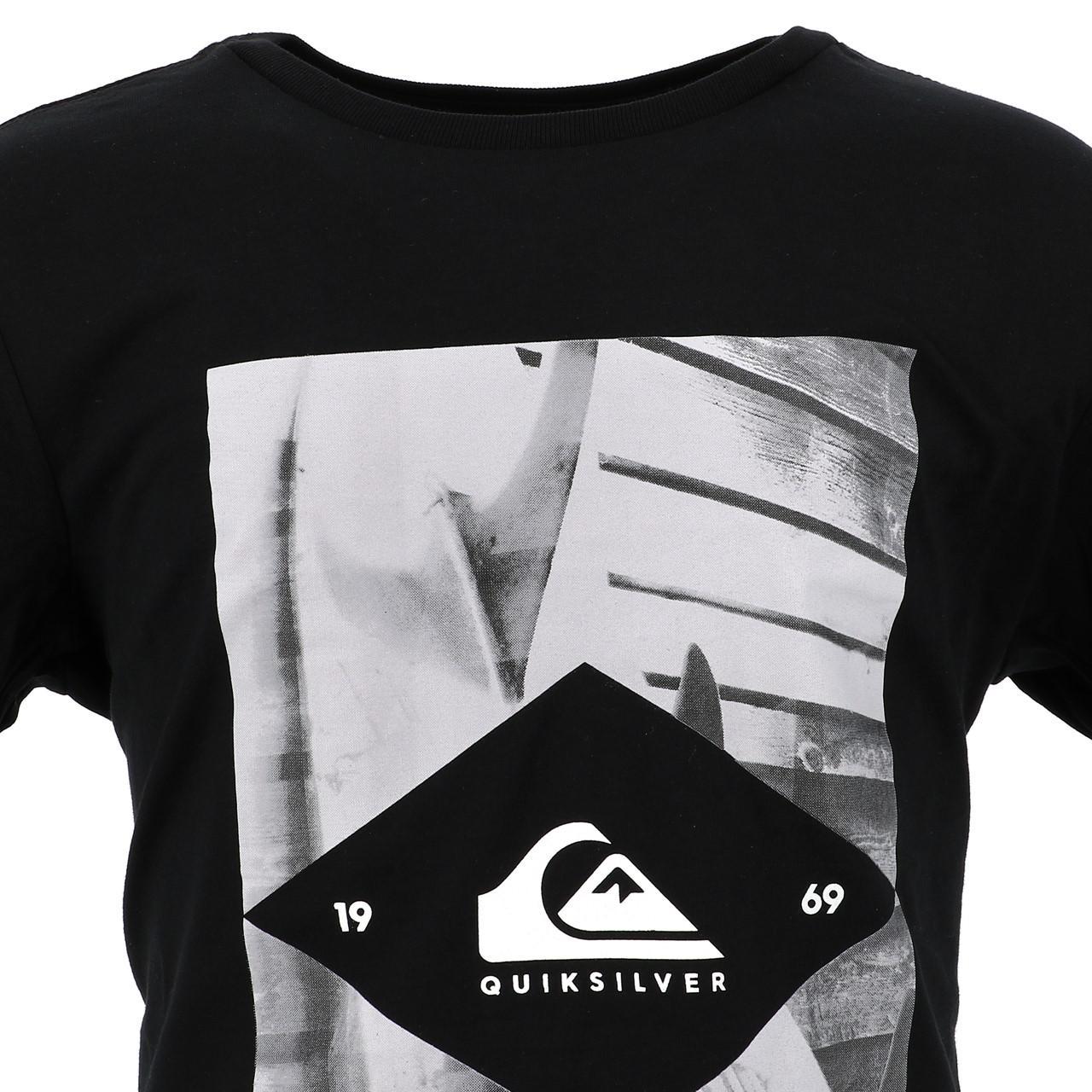 Tee-shirt-manches-courtes-Quiksilver-15341-flaxton-blk-jr-sp2-Noir-17517-Neuf miniature 2