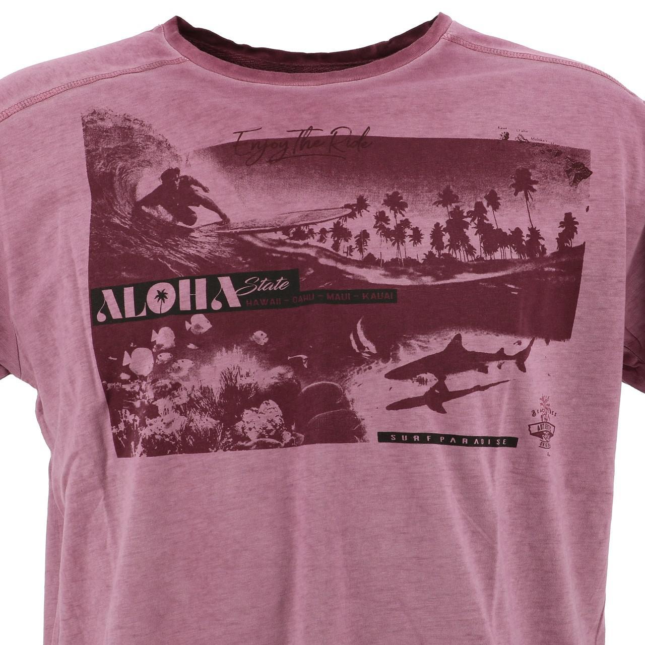 Short-Sleeve-T-Shirt-RMS-26-Shark-Wine-Mc-Tee-Red-18023-New thumbnail 2