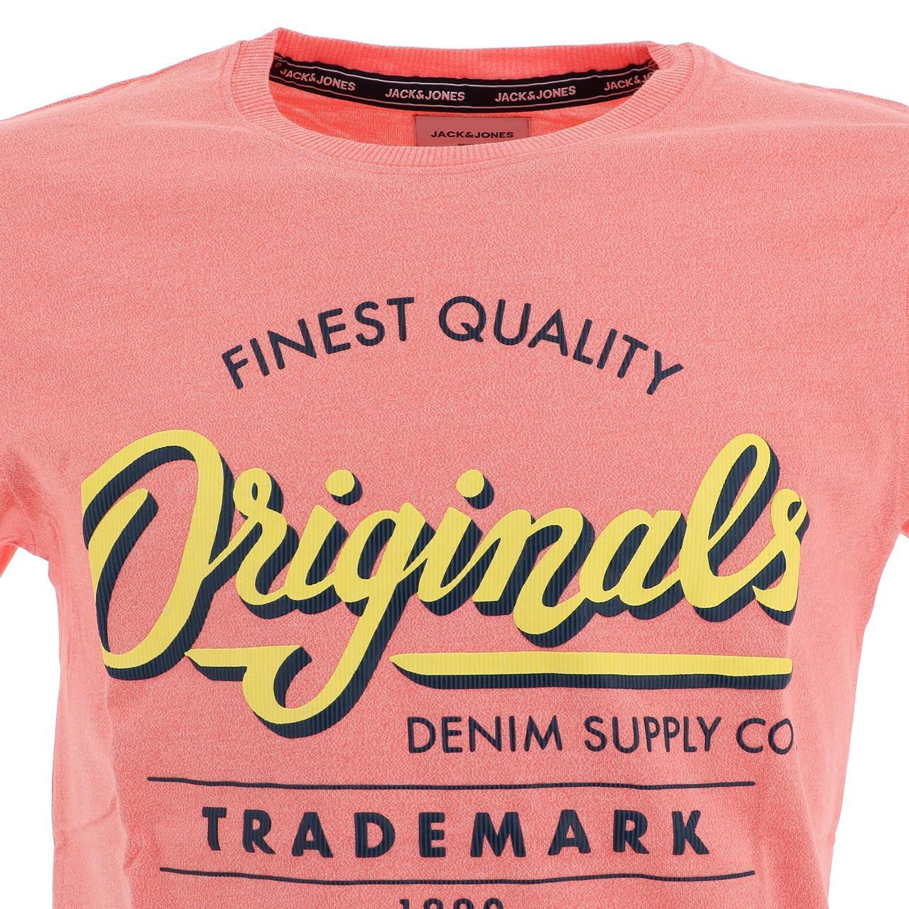 Short-Sleeve-T-Shirt-Jack-and-Jones-Quinn-Persimmon-Mc-Tee-Orange-18539-N thumbnail 2