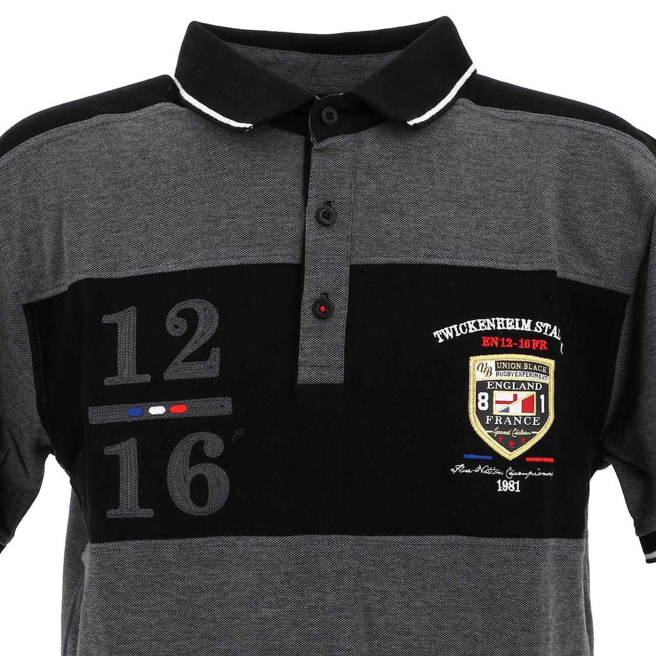Short-Sleeve-Polo-Union-Black-League-Black-Mc-Polo-Black-18769-New thumbnail 2