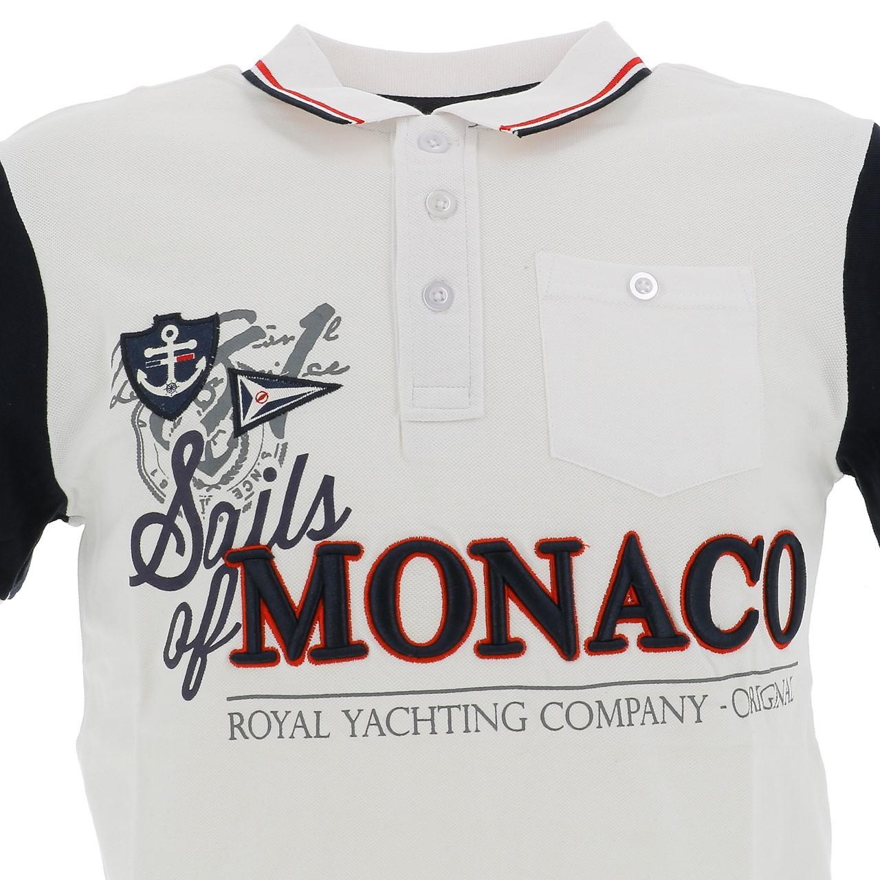 Short-Sleeve-Polo-Sails-of-monaco-Pago-White-Mc-Polo-White-27185-New thumbnail 2