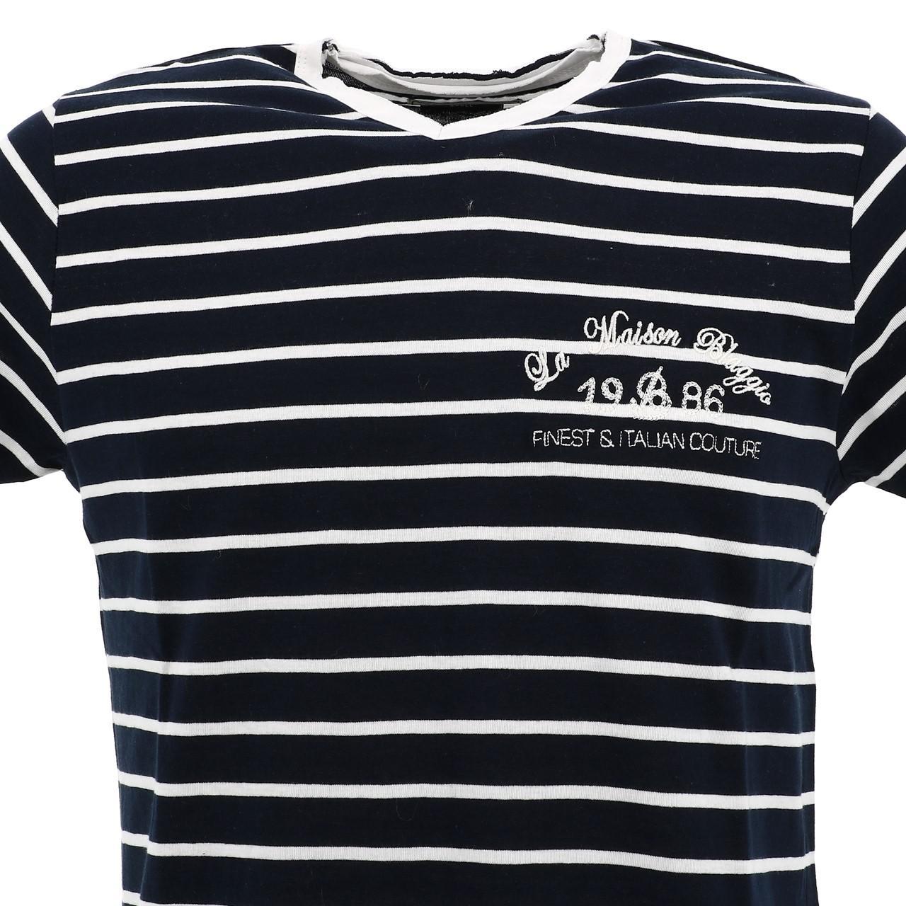 Short-Sleeve-T-Shirt-La-Maison-Blaggio-Mavili-Navy-Wht-Mc-Tee-Blue-27335 thumbnail 2