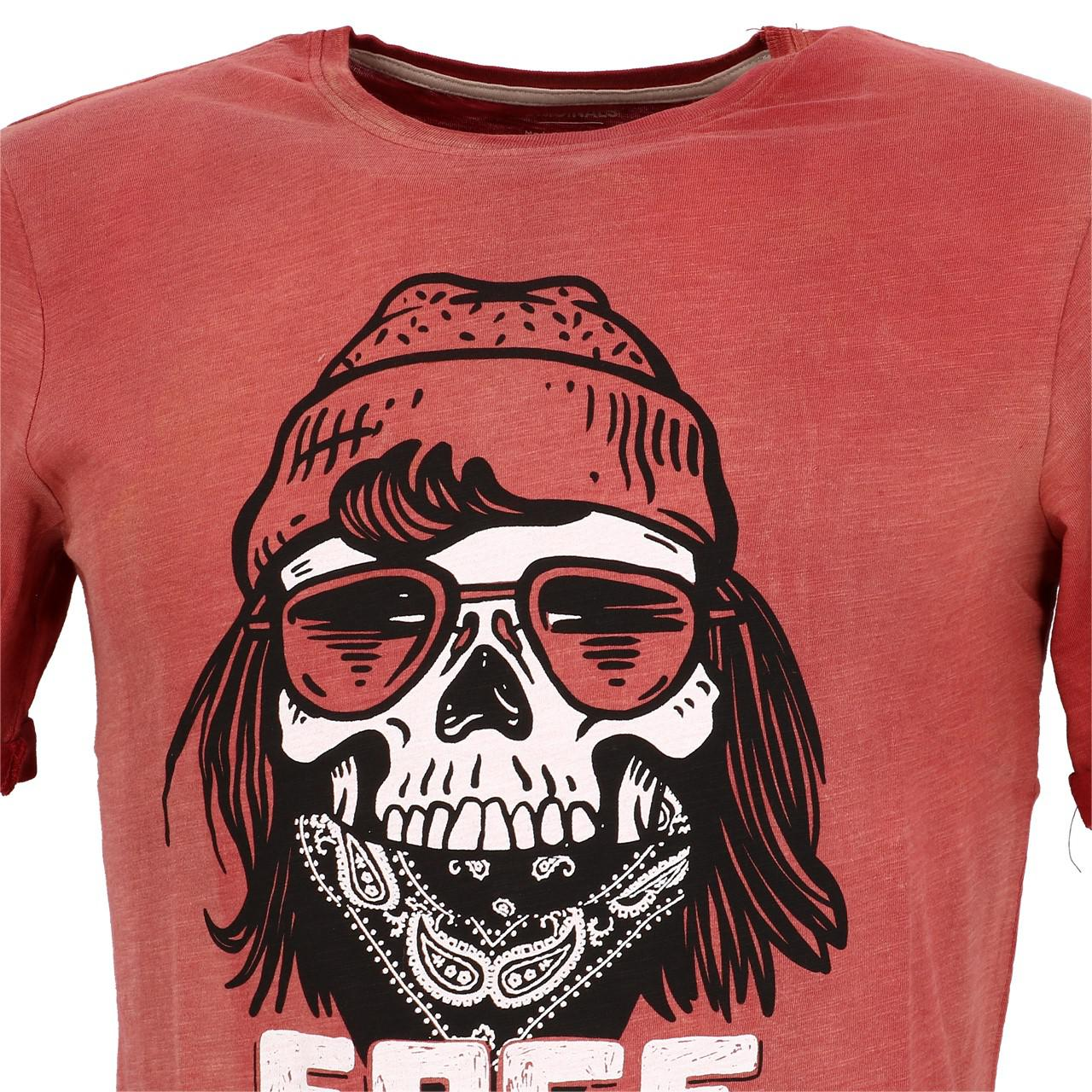 Short-Sleeve-T-Shirt-Jack-and-Jones-Craps-Brick-Red-Mc-Tee-Red-28384-Does-Not thumbnail 2