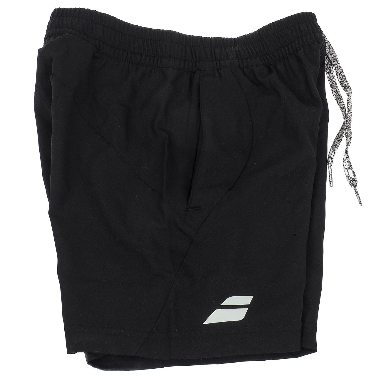 Short-de-tennis-Babolat-Short-core-black-kid-Blanc-70503-Neuf miniature 2