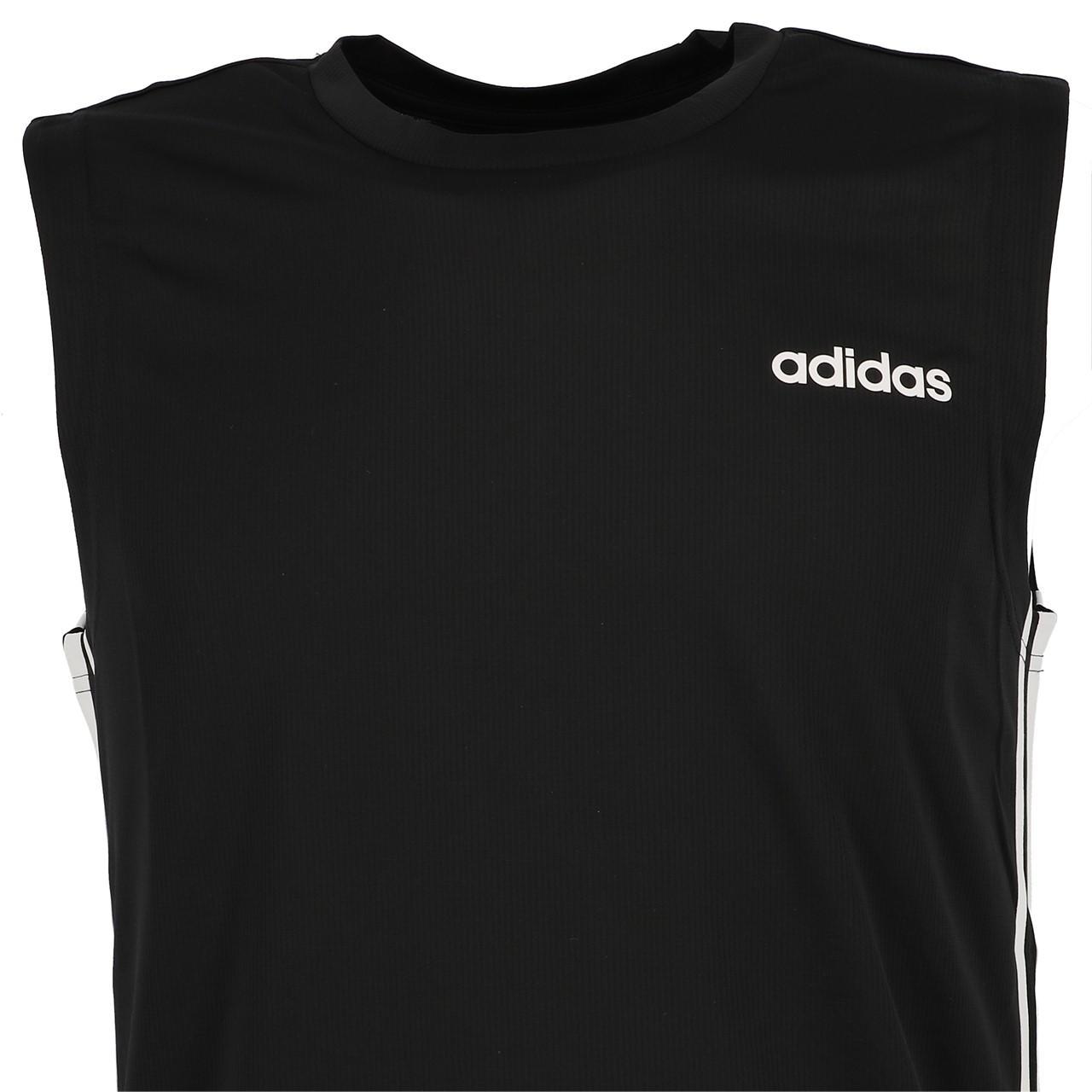 Sleeveless-Shirt-Adidas-D2m-Sl-3s-Blk-Sm-Tee-Black-90912-New thumbnail 2