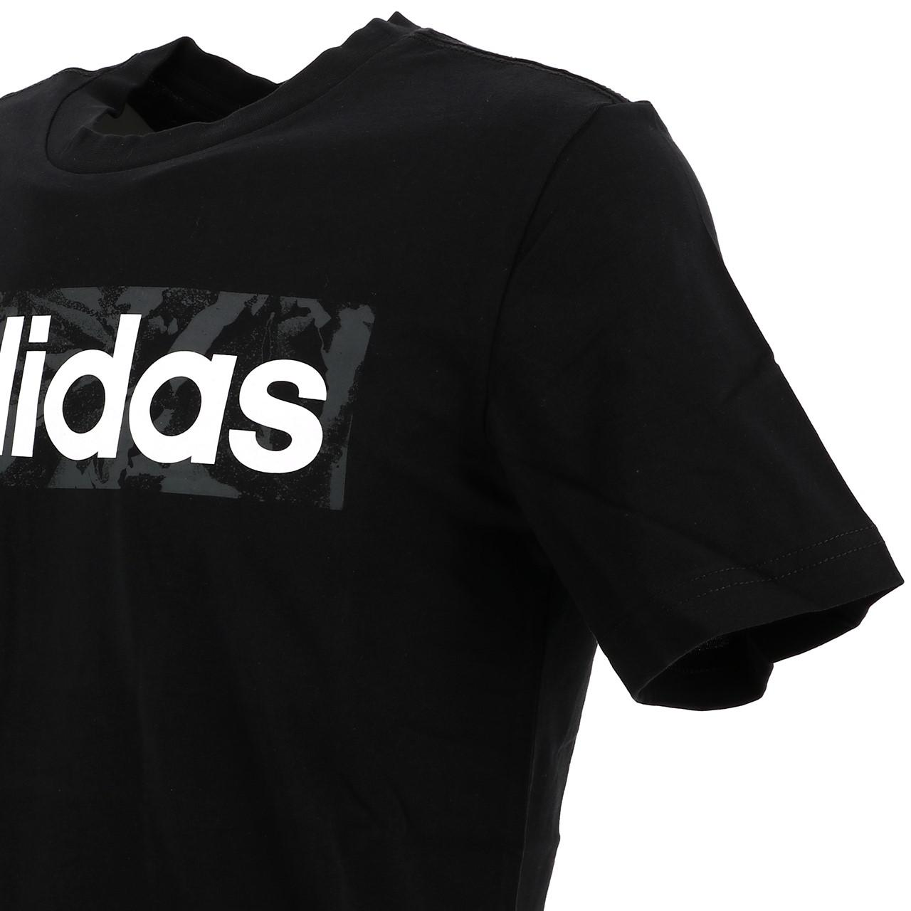 Short-Sleeve-T-Shirt-Adidas-E-Linen-Aop-Box-Blk-Mc-Tee-Black-16677-New thumbnail 2