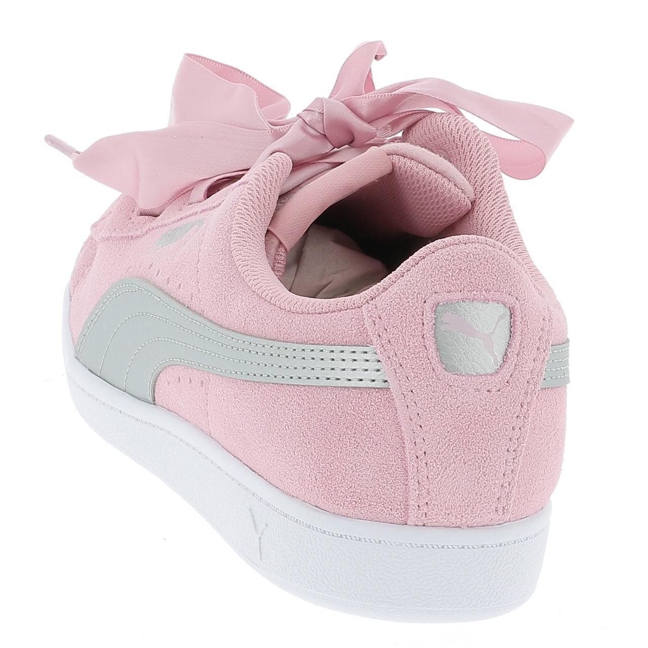 Schuhe-Niedrig-Leder-oder-Faux-Puma-Vikky-Band-Rosa-Maedchen-Rosa-17056-Neu Indexbild 3
