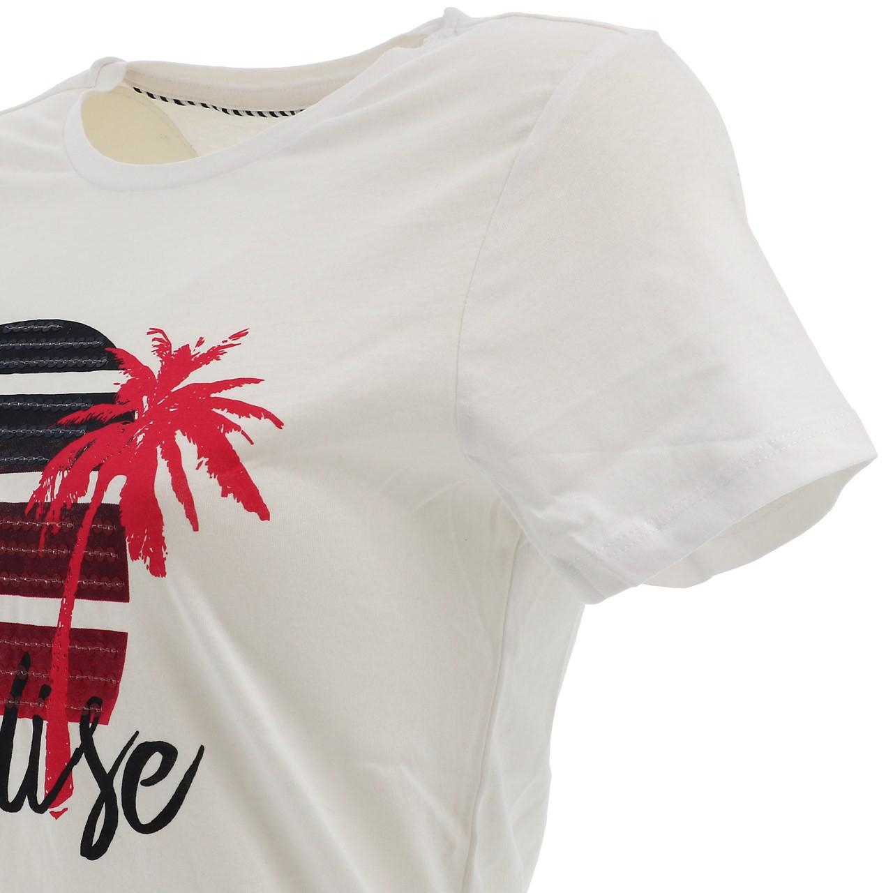 Tee-shirt-manches-courtes-Only-Paradise-white-tee-l-sp2-Blanc-17500-Neuf miniature 3
