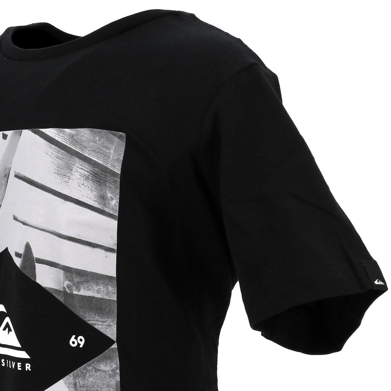 Tee-shirt-manches-courtes-Quiksilver-15341-flaxton-blk-jr-sp2-Noir-17517-Neuf miniature 3