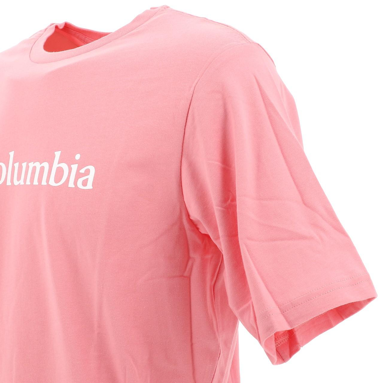 Short-Sleeve-T-Shirt-Columbia-Csc-Basic-Logo-Rse-Mc-Tee-Pink-18106-New thumbnail 3