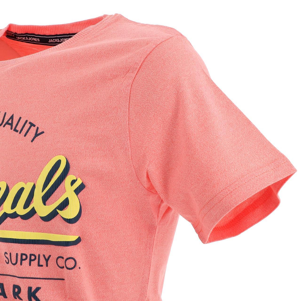 Short-Sleeve-T-Shirt-Jack-and-Jones-Quinn-Persimmon-Mc-Tee-Orange-18539-N thumbnail 3