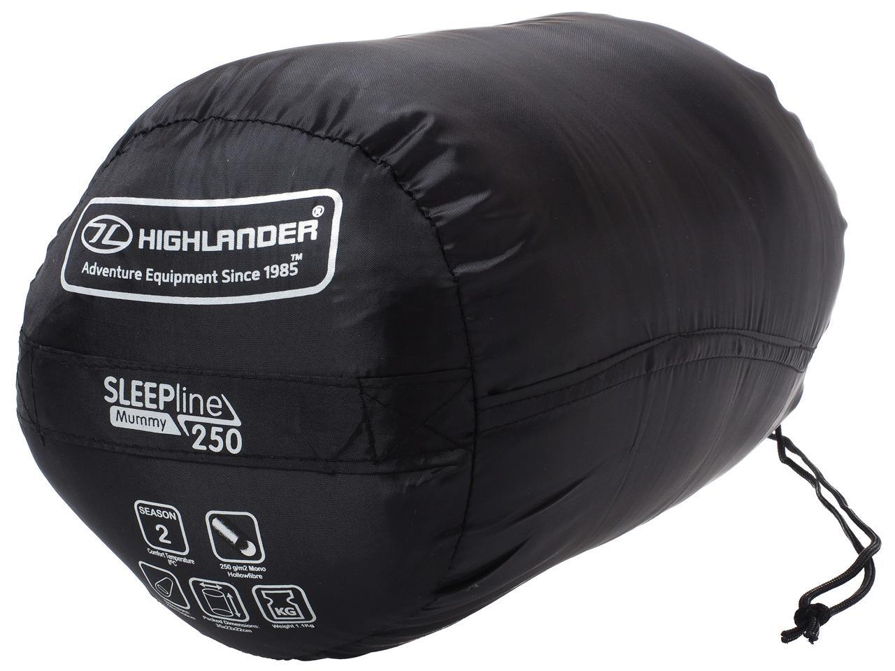 Sac-de-couchage-sarcophage-Highlander-Sleepin-250-nr-5-8-15-Noir-41445-Neuf