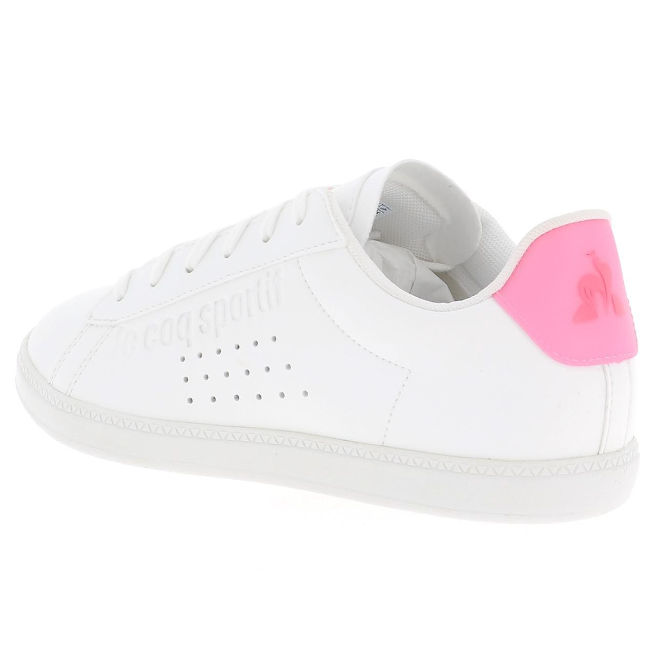 Schuhe-Niedrig-Leder-oder-Faux-Le-Coq-Sportif-Courtset-Maedchen-Blc-Weiss-47681 Indexbild 3