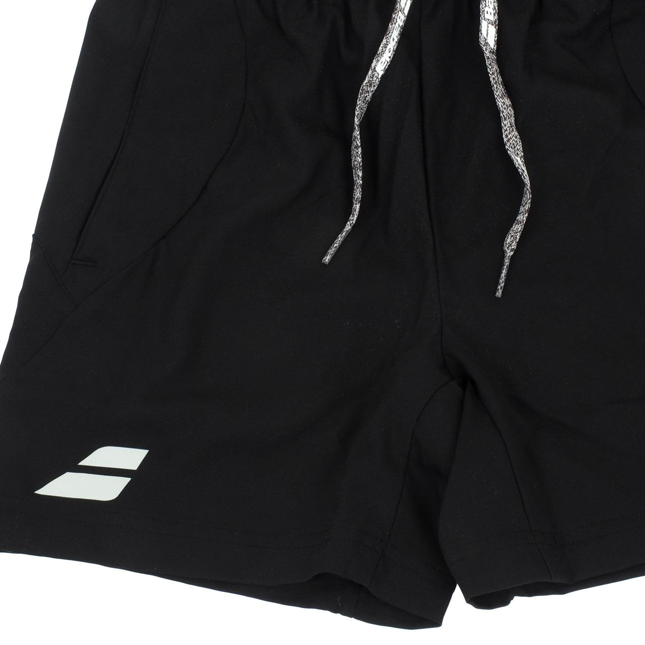 Short-de-tennis-Babolat-Short-core-black-kid-Blanc-70503-Neuf miniature 3