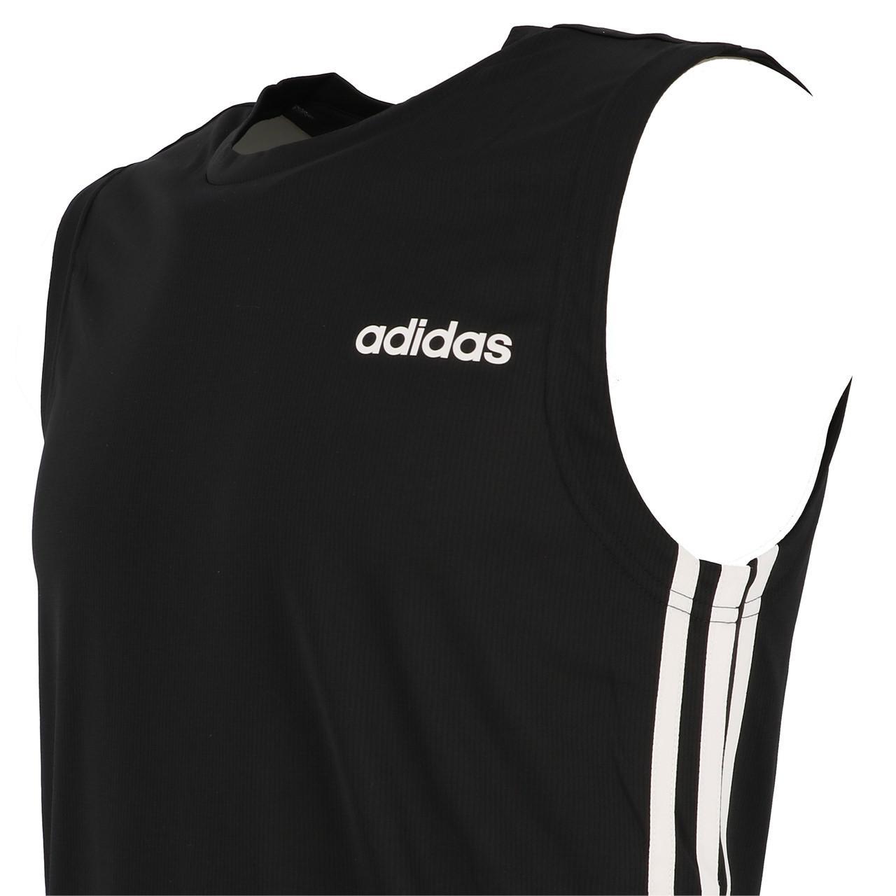 Sleeveless-Shirt-Adidas-D2m-Sl-3s-Blk-Sm-Tee-Black-90912-New thumbnail 3