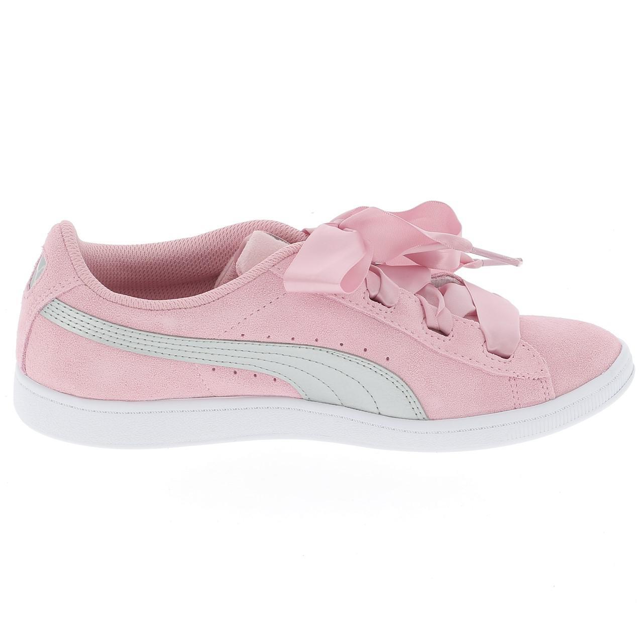 Schuhe-Niedrig-Leder-oder-Faux-Puma-Vikky-Band-Rosa-Maedchen-Rosa-17056-Neu Indexbild 4