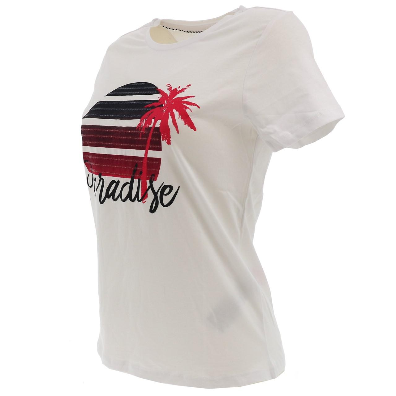 Tee-shirt-manches-courtes-Only-Paradise-white-tee-l-sp2-Blanc-17500-Neuf miniature 4