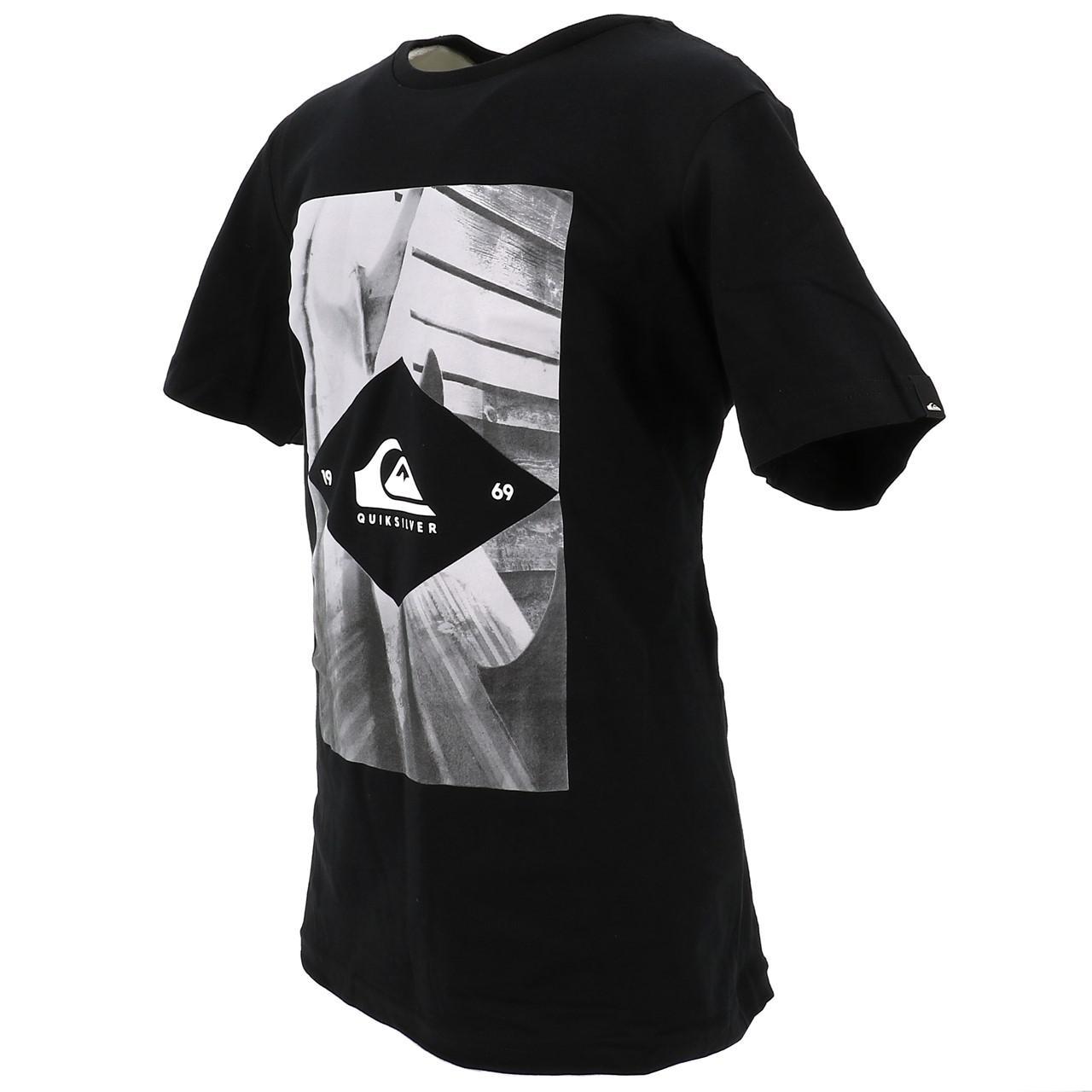Tee-shirt-manches-courtes-Quiksilver-15341-flaxton-blk-jr-sp2-Noir-17517-Neuf miniature 4
