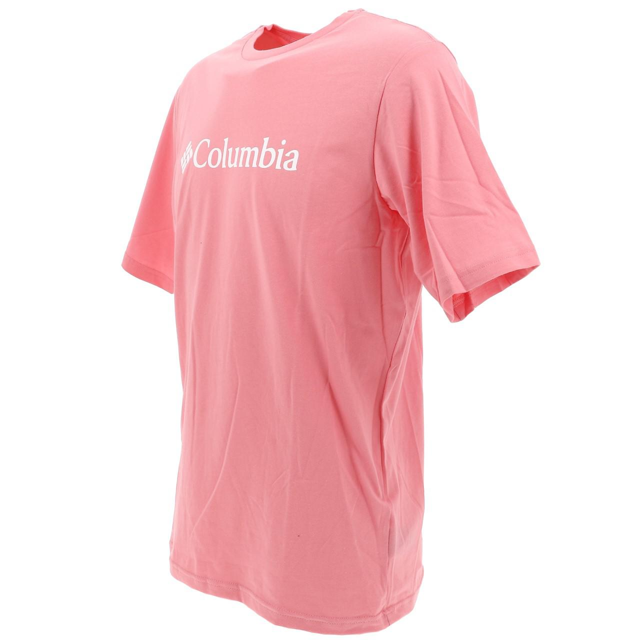 Short-Sleeve-T-Shirt-Columbia-Csc-Basic-Logo-Rse-Mc-Tee-Pink-18106-New thumbnail 4