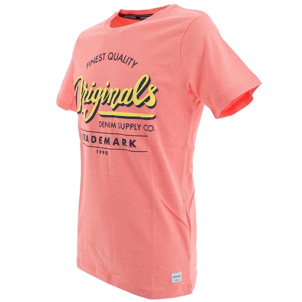 Short-Sleeve-T-Shirt-Jack-and-Jones-Quinn-Persimmon-Mc-Tee-Orange-18539-N thumbnail 4