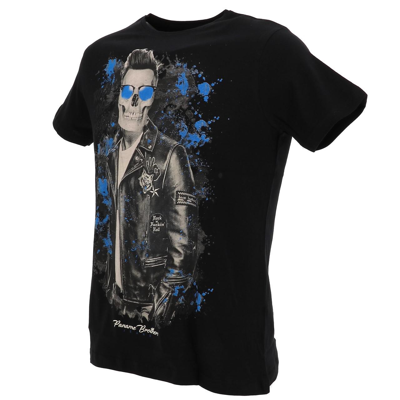 Short-Sleeve-T-Shirt-Paname-Brothers-Merico-Black-Mc-Tee-Black-26749-New thumbnail 4
