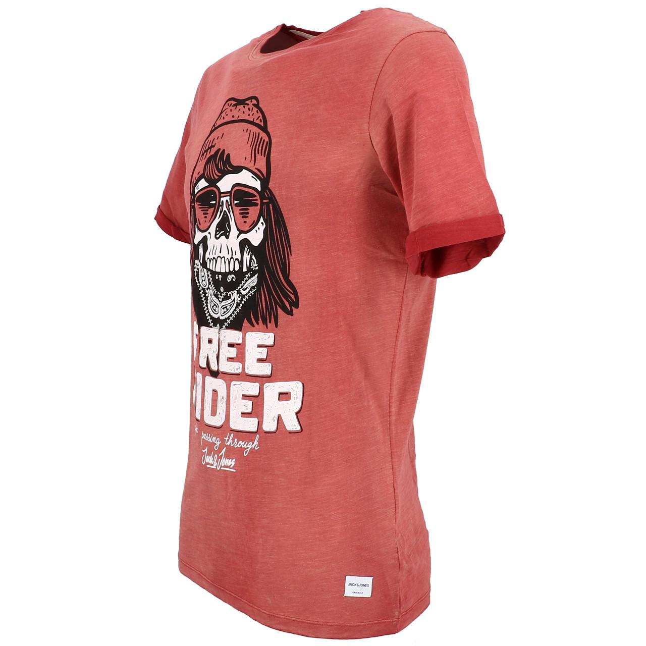 Short-Sleeve-T-Shirt-Jack-and-Jones-Craps-Brick-Red-Mc-Tee-Red-28384-Does-Not thumbnail 4