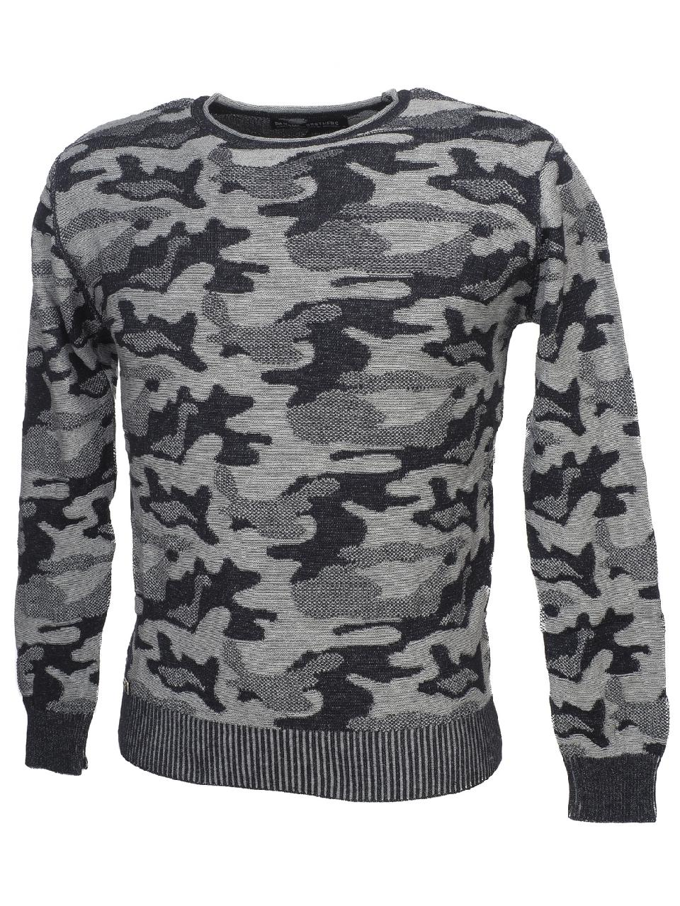 Thin-Sweater-Paname-Brothers-Party-Navy-Grey-Sweater-Blue-53931-New thumbnail 4