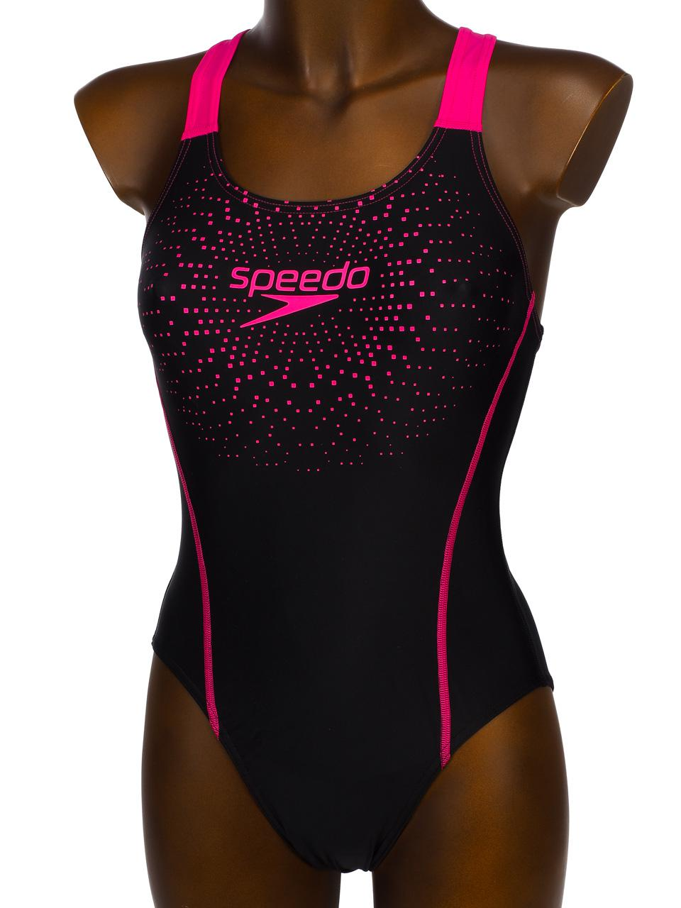 Maillot-de-bain-1-piece-Speedo-Gala-logo-black-pink-Noir-83229-Neuf