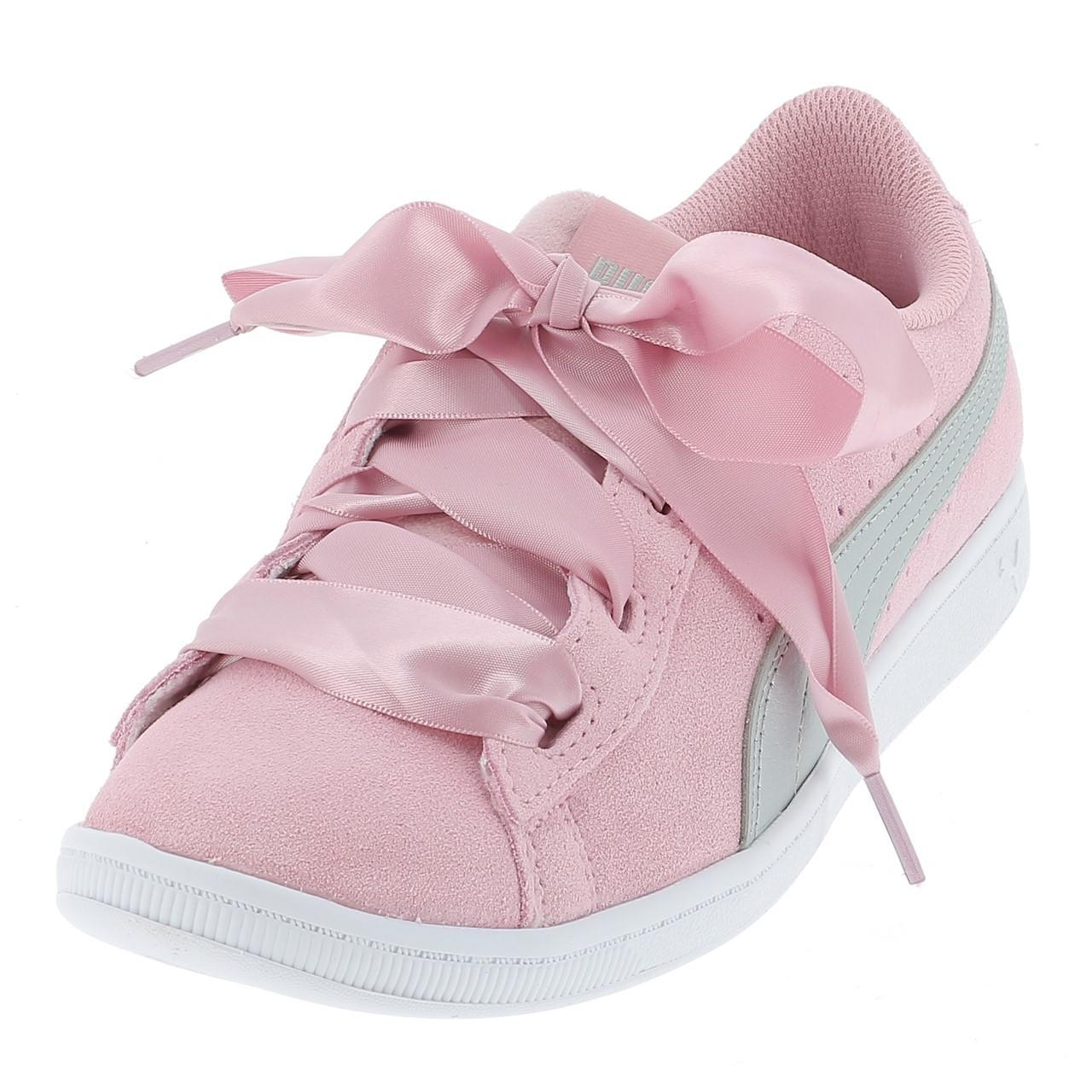 Schuhe-Niedrig-Leder-oder-Faux-Puma-Vikky-Band-Rosa-Maedchen-Rosa-17056-Neu