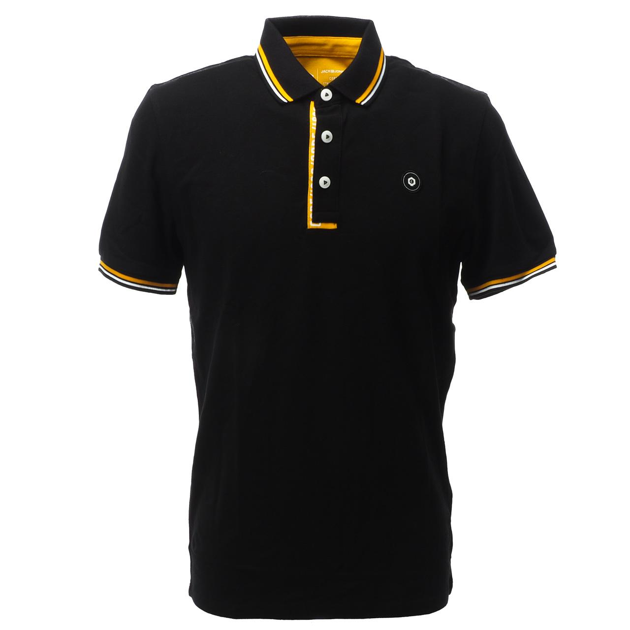 Short-Sleeve-Polo-Jack-and-Jones-Challenge-Black-Mc-Polo-Black-17260-New