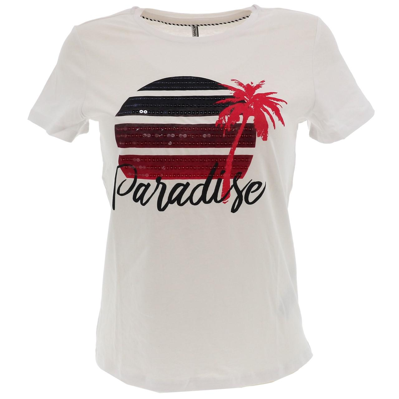 Tee-shirt-manches-courtes-Only-Paradise-white-tee-l-sp2-Blanc-17500-Neuf