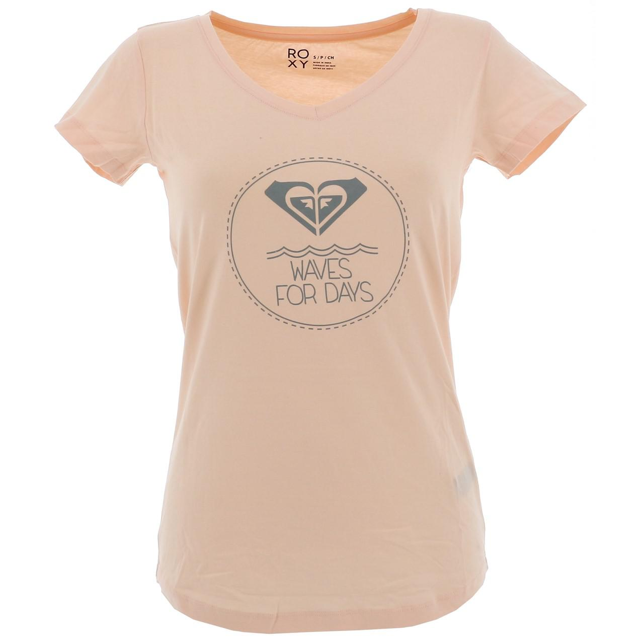 Tee-shirt-manches-courtes-Roxy-Miri-waves-days-rse-sp2-Rose-17523-Neuf