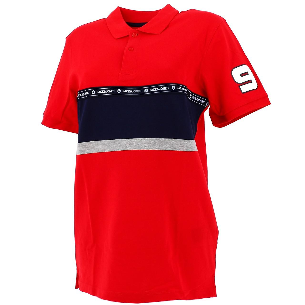 Short-Sleeve-Polo-Jack-and-jones-Wiskit-Chinese-Red-Polo-Red-18528-New
