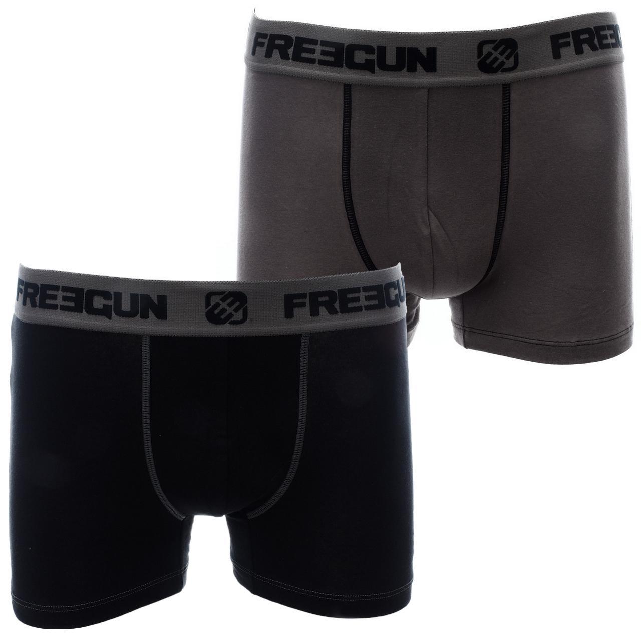 Underwear-Boxer-Freegun-Duo-J-Grey-Black-Boxer-Grey-26510-New