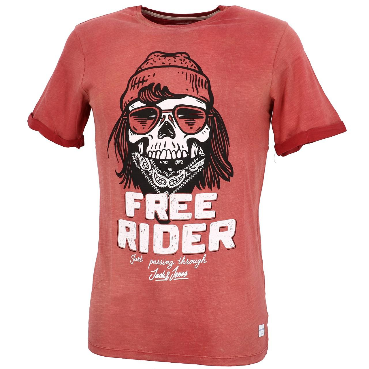 Short-Sleeve-T-Shirt-Jack-and-Jones-Craps-Brick-Red-Mc-Tee-Red-28384-Does-Not