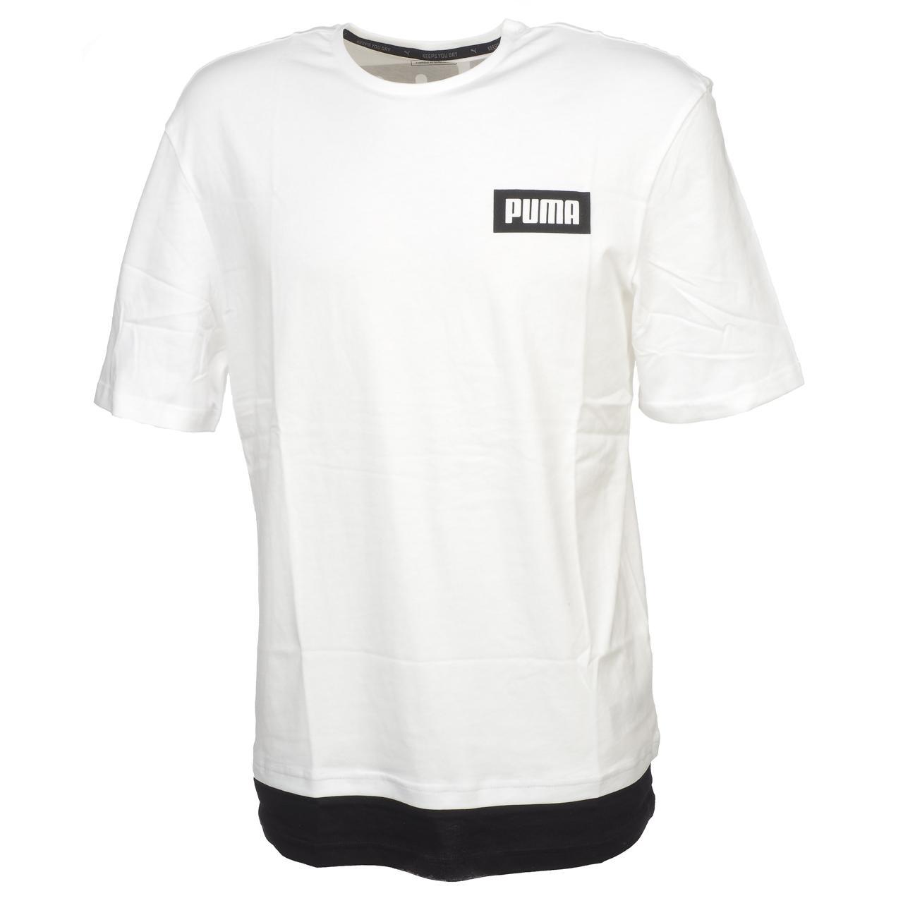 Short-Sleeve-T-Shirt-Puma-Rebel-White-Mc-Tee-White-44494-New