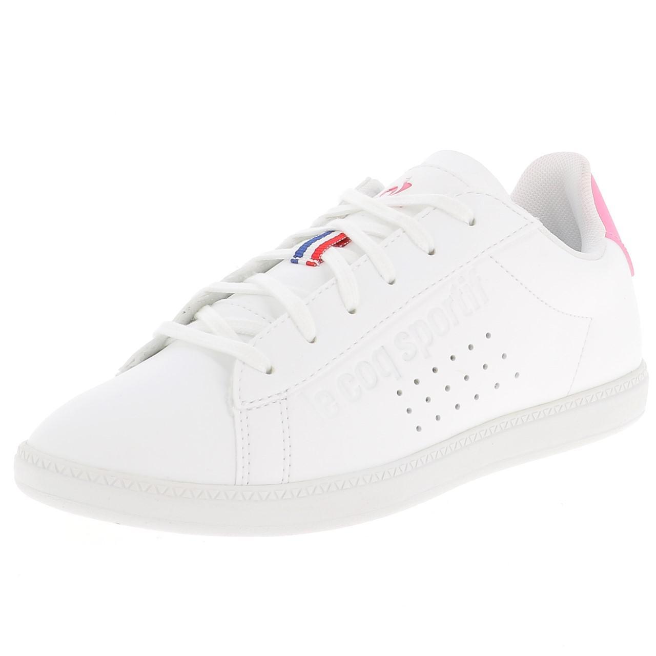 Schuhe-Niedrig-Leder-oder-Faux-Le-Coq-Sportif-Courtset-Maedchen-Blc-Weiss-47681