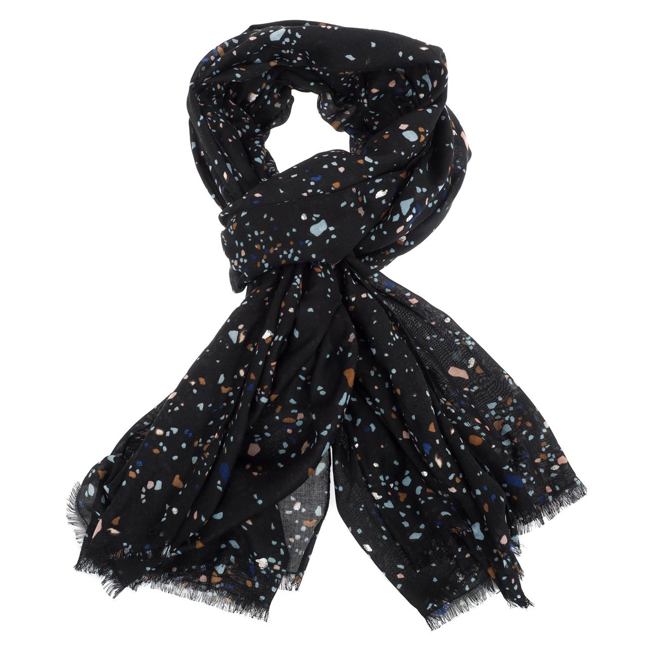 Foulard-Pieces-Rocky-black-long-scarf-Noir-51786-Neuf