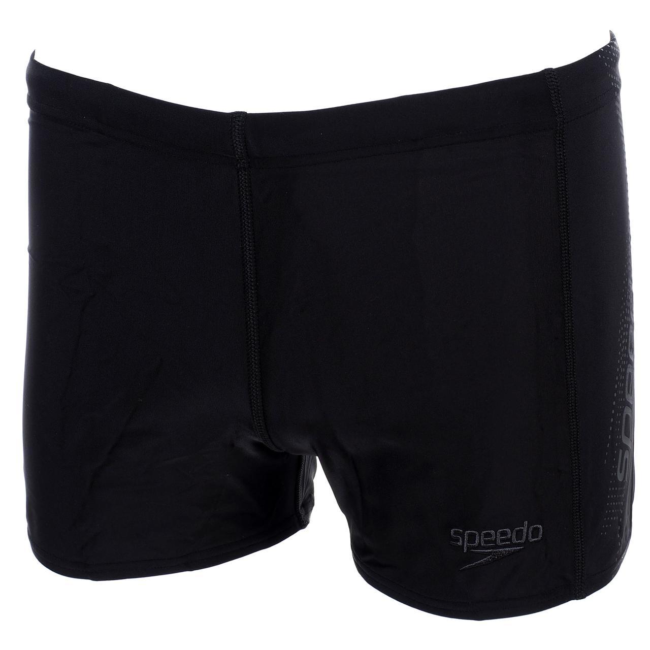 Boxer-Swimsuit-Speedo-Sports-Logo-Black-Gray-Black-58322-New
